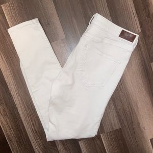 White high rise skinny Hollister ripped jeans